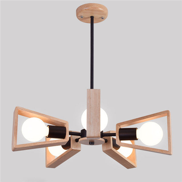 5 Lights Nordic Wooden Chandelier Lights PL618 - Cheerhuzz