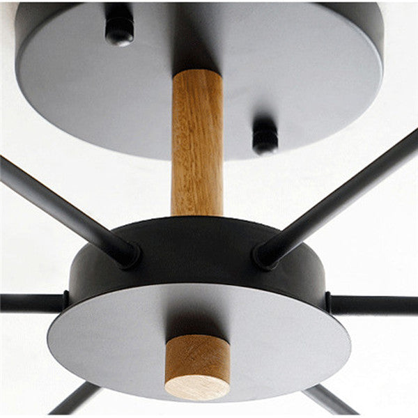 Black/White 6 Lights Wood Ceiling Lamp PL627 - Cheerhuzz