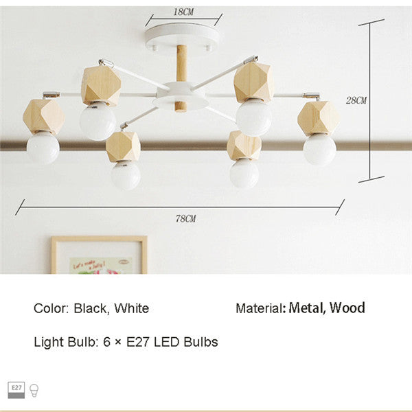 Black/White 6 Lights Wood Ceiling Lamp PL627