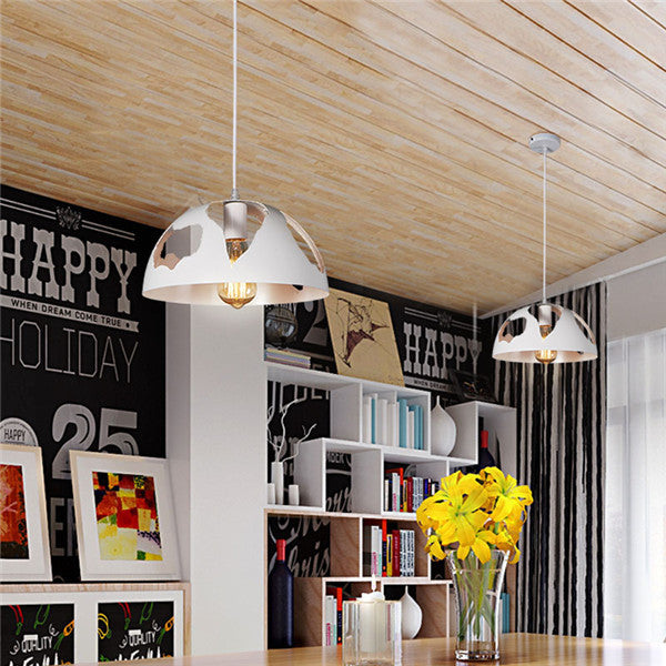 Black/White/Rust Vintage Hollow Iron Pendant Lamp PL634 - Cheerhuzz
