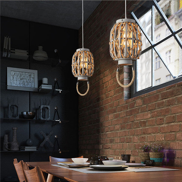 Hemp Rope Lantern Wood Pendant Lamp PL635 - Cheerhuzz