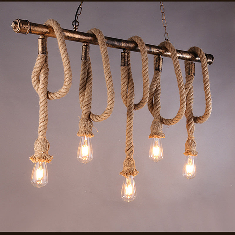 Vintage Water Pipe Hemp Rope Pendant Light PL642-5