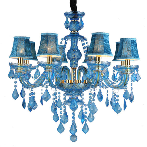 8 Lights Blue Luxury Crystal Chandelier PL651-8 - Cheerhuzz