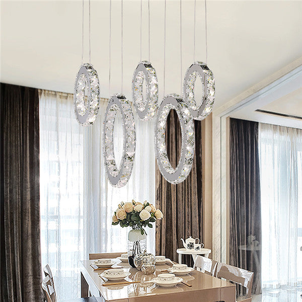 LED Round Ring Crystal Pendant Light PL658 - Cheerhuzz