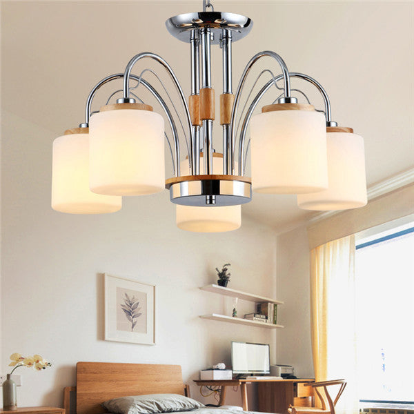 5 Lights Wood Glass Pendant Light PL659-5 - Cheerhuzz