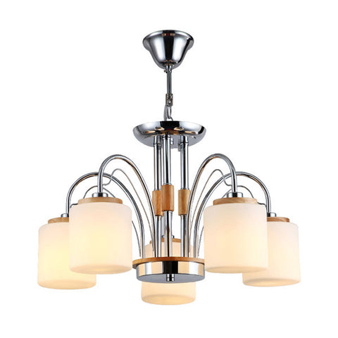 5 Lights Wood Glass Pendant Light PL659-5