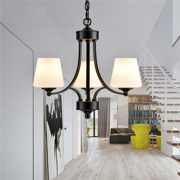 3 Lights Nordic Glass Shade Chandeliers PL664-3