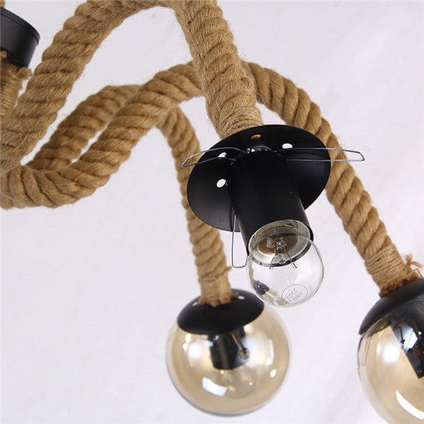 Retro Magic Beans Hemp Rope Pendant Light PL668-6