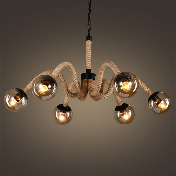 Retro Magic Beans Hemp Rope Pendant Light PL668-6 - Cheerhuzz