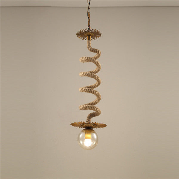 Single Head Retro Loft Hemp Rope Hanging Light PL669 - Cheerhuzz