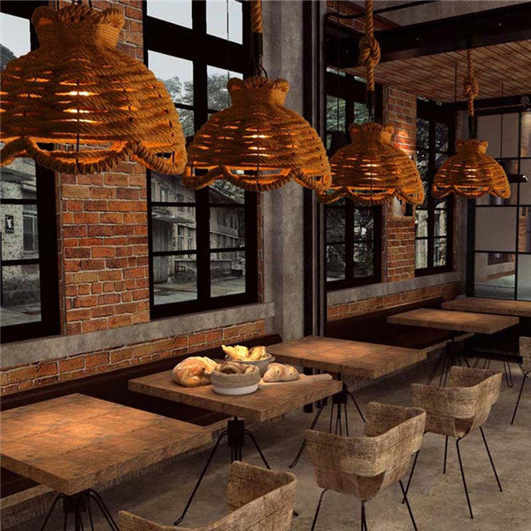 Retro Industrial Hemp Rope Pendant Light PL674 - Cheerhuzz