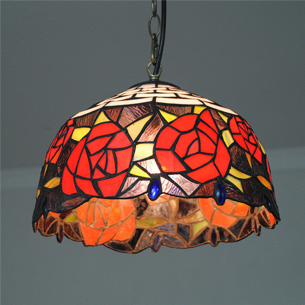 Red Rose Tiffany Pendant Lamp PL717 - Cheerhuzz
