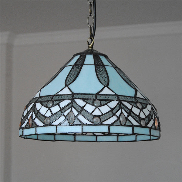 "Antique Tiffany Hanging Lamp Value: 12"" Vintage Tiffany Style Hanging Light Fixture PL719"