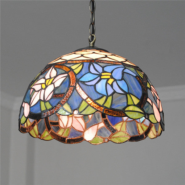 "12"" European Blue Flowers Pendant Light PL720"