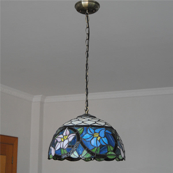 "12"" European Blue Flowers Pendant Light PL720 - Cheerhuzz"