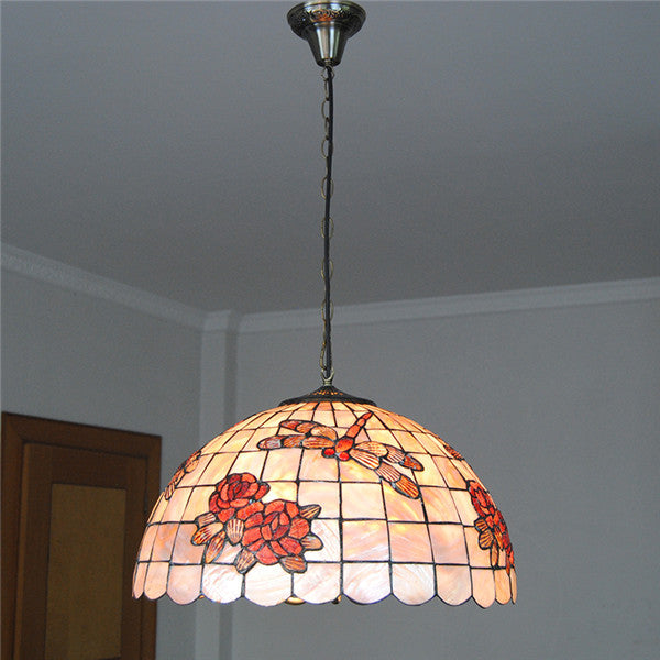 "18"" Rose Dragonfly Shell Hanging Lights PL726"