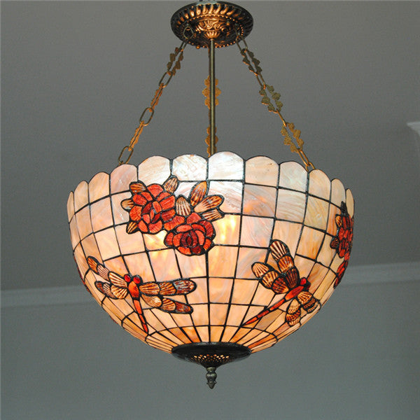 Tiffany Dragonfly Stained Shell Invert Hanging Light PL751
