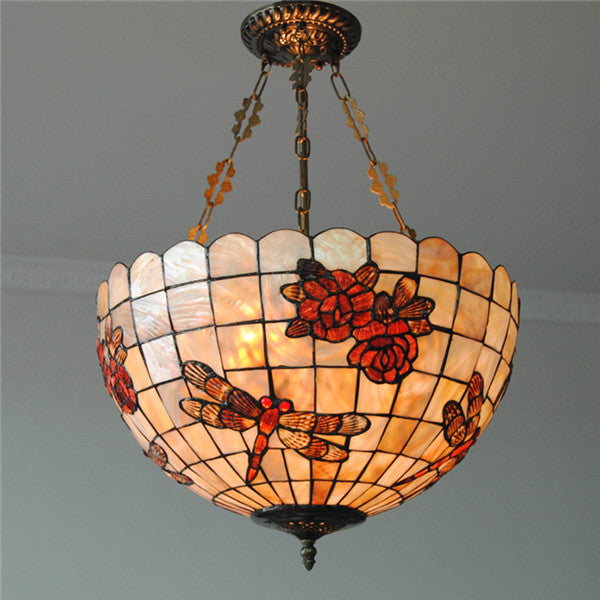 Tiffany Dragonfly Stained Shell Invert Hanging Light PL751 - Cheerhuzz