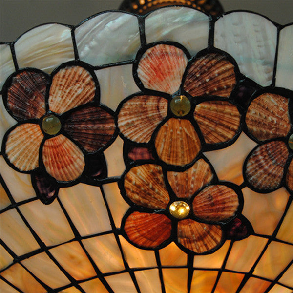 Retro Stained Glass Inverted Pendant Light PL761