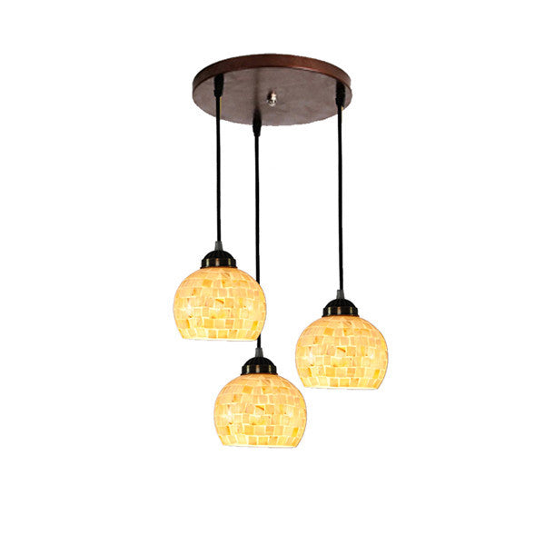 3 Heads European Mosaic Shade Chandelier PL766