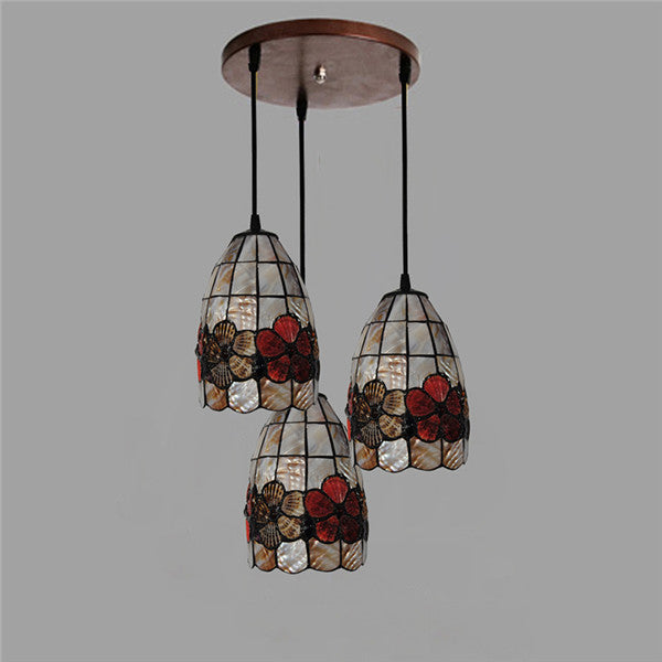 3 Lights Tiffany Style Flowers Chandeliers Lighting PL772