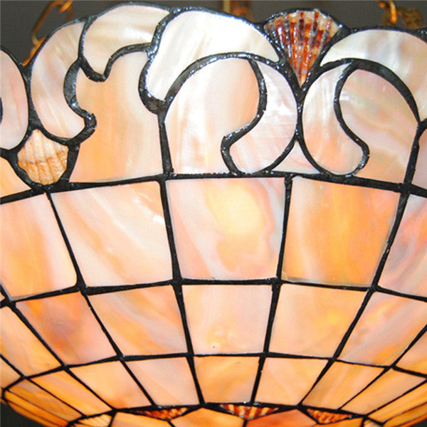 "16"" European Stained Shell Inverted Hanging Light PL778 - Cheerhuzz"