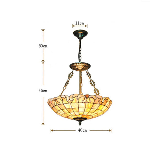 "16"" European Stained Shell Inverted Hanging Light PL778"