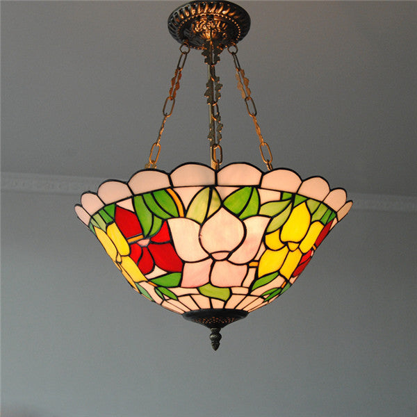 3 Lights Baroque Stained Glass Inverted Pendant Light PL801 - Cheerhuzz