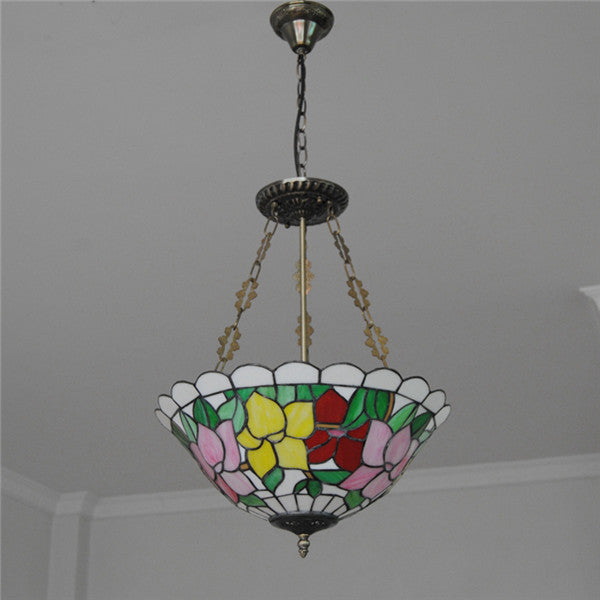 3 Lights Baroque Stained Glass Inverted Pendant Light PL801