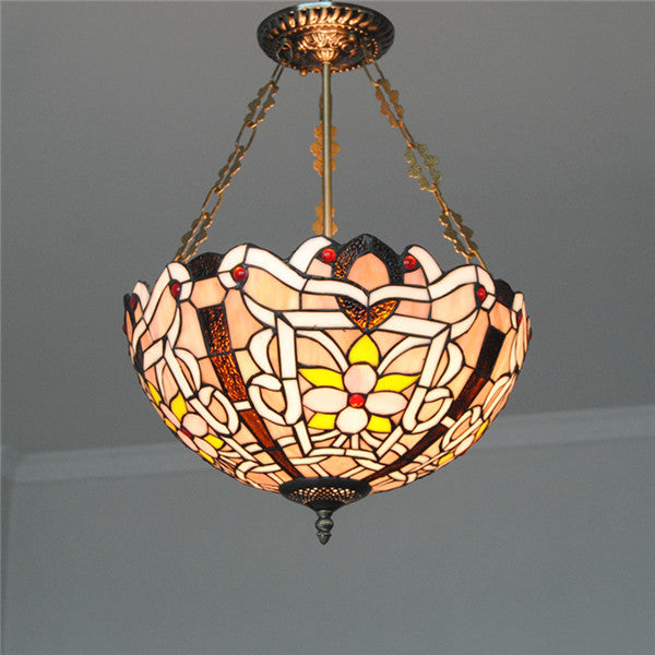"16"" Retro Tiffany Stained Glass Chandelier PL802"