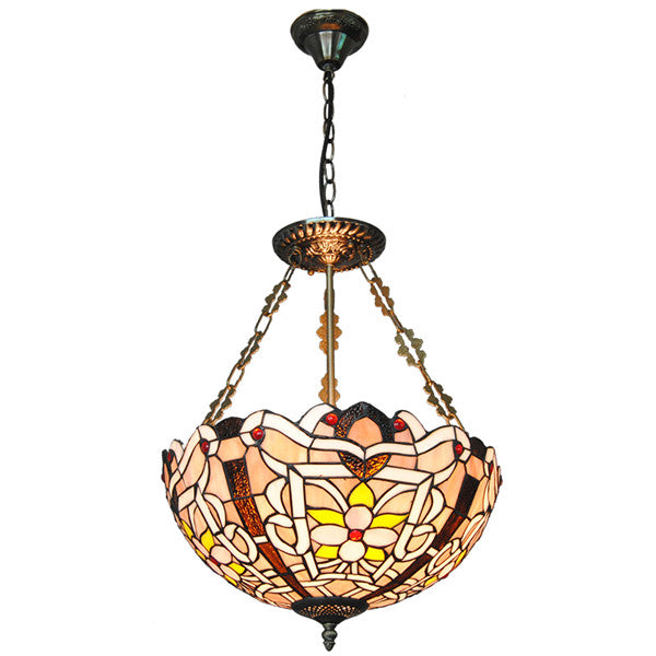 "16"" Retro Stained Glass Inverted Pendant Lamp PL802"