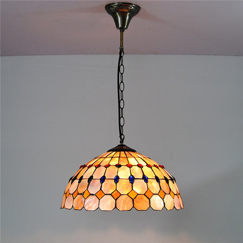 "16"" Shell Lampshade Stained Glass Lighting PL805"