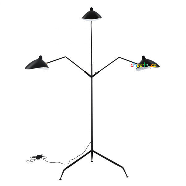 Serge Mouille Three-Arm Floor Lamp FL25-3