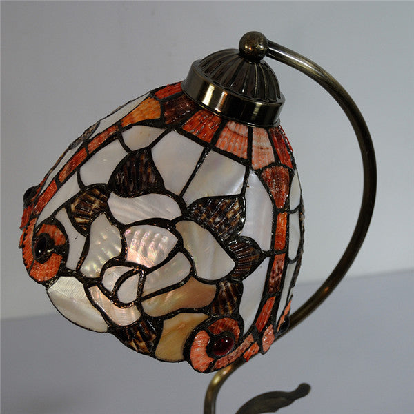 "7"" Retro Rose Stained Glass Desk Lights TL175"