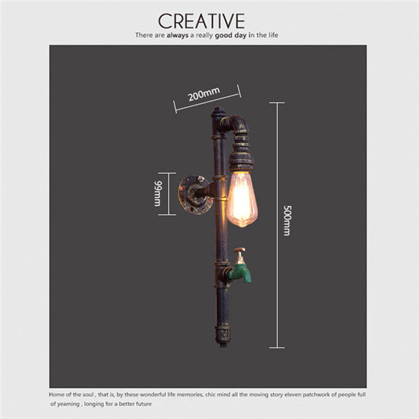Rustic Vintage Loft Pipe Wall Sconces WL201