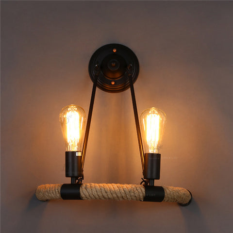 Retro Bracket Light 2 Lights Hemp Rope Wall Lamp WL202