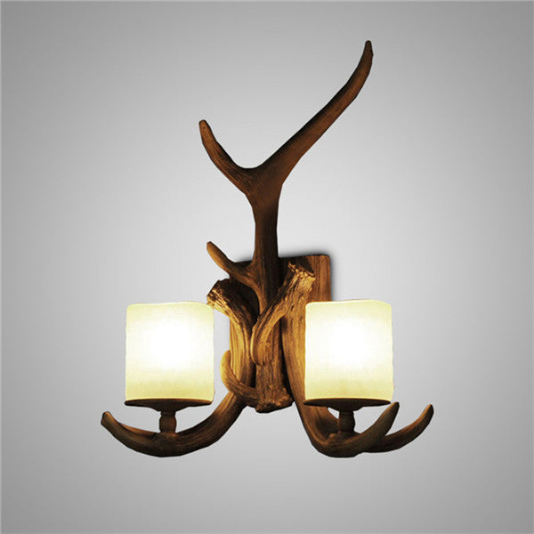 Resin Double Antlers Wall Sconces WL204 - Cheerhuzz
