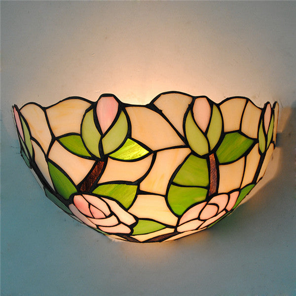 Tiffany Style Rose Stained Glass Wall Sconce WL310 - Cheerhuzz