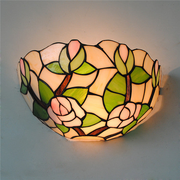 Tiffany Style Rose Stained Glass Wall Sconce WL310