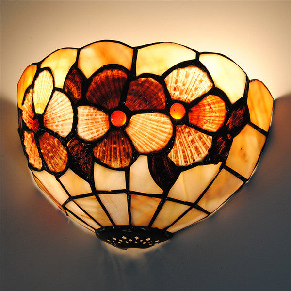 8 Classic Flowers Stained Glass Wall Light Wl323