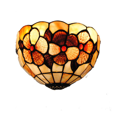 "8"" Classic Flowers Stained Glass Wall Light WL323"