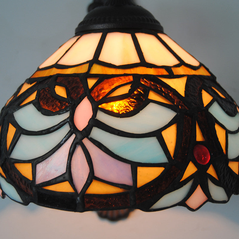 Vintage Stained Glass Iron Base Wall Light WL325