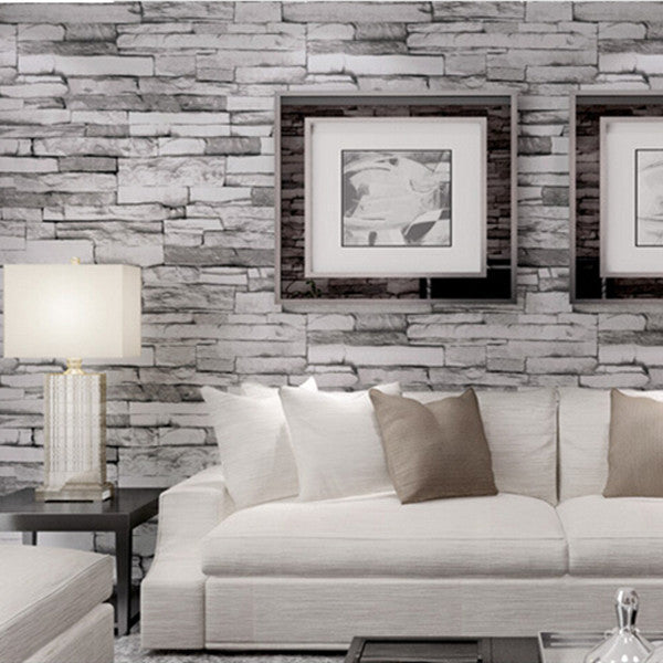 Vintage 3d effect stack stone wallpaper wp109 cheerhuzz for 3d effect wallpaper for home