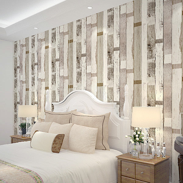 Barn Faux Grain Plank Wood boards Effect Wallpaper WP117 - Cheerhuzz