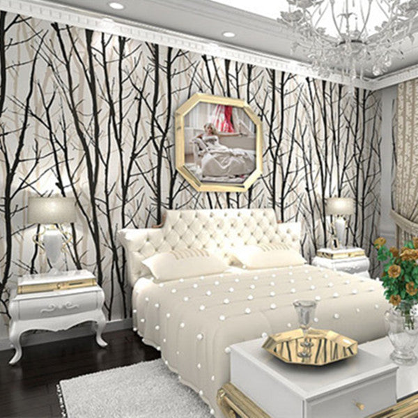PVC White & Black bamboo Wallpaper WP13