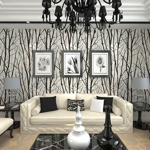 PVC White & Black bamboo Wallpaper WP13 - Cheerhuzz