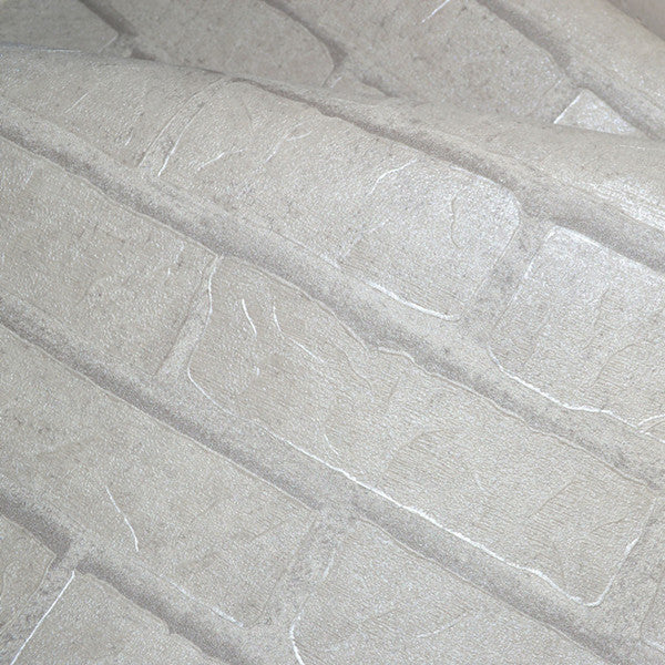 White Grey Real Looking Brick Pattern Wallpaper WP120 - Cheerhuzz