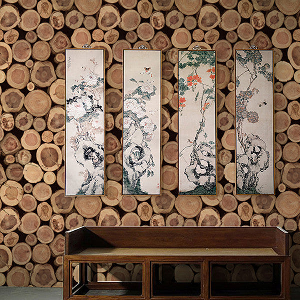 3D Retro Short Stakes Wood PVC Wallpaper WP139 - Cheerhuzz