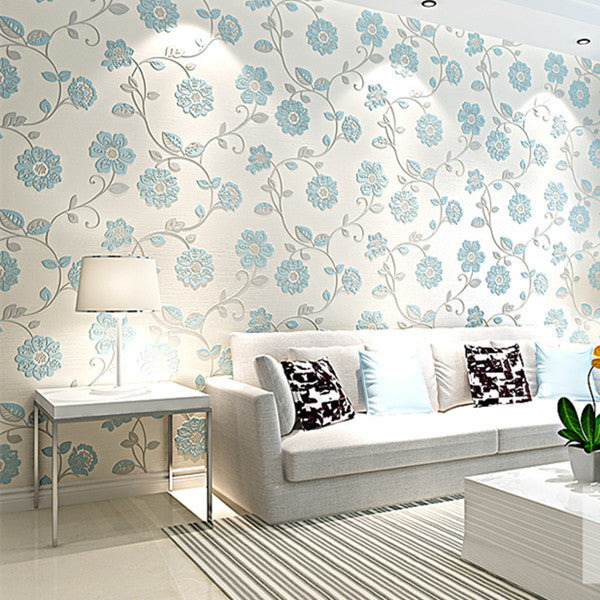 Blooming Blue Floral Scroll Wallpaper WP145 - Cheerhuzz