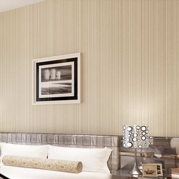 Classic Flocking Plain Stripe Wallpaper WP16